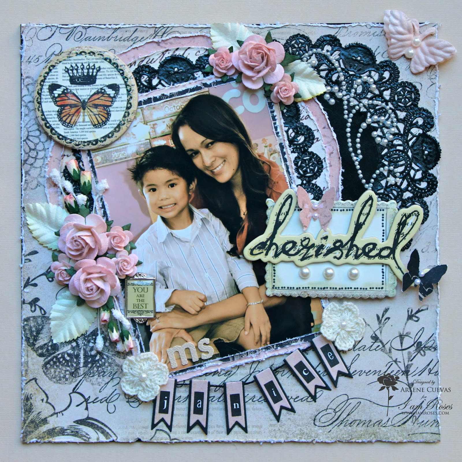 How to scrapbook 8x8 layouts - I Used A Variety Of I Am Roses Products On This Layout Product Links Included At The Bottom Of This Post Here Are Some Photos Of This Fun Layout