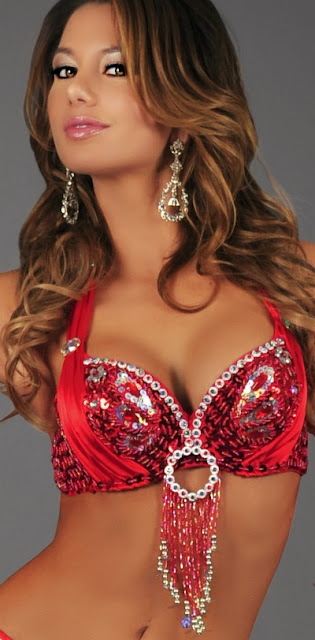 Red Sequin Butterfly Bra