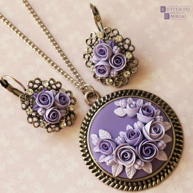 серебро розы серьги