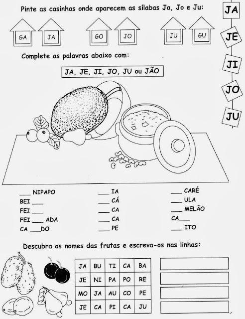 jaca,Atividades com a letra J.Ensino Fundamental, Atividades para imprimir, Alfabetização, Letras, 1º ano.