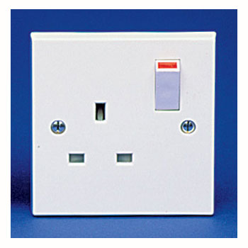 The BG 921B Square Edge - 1 Gang 13A Switched Socket White Plastic