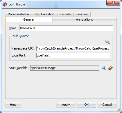 Using Throw/CatchAll In SOA