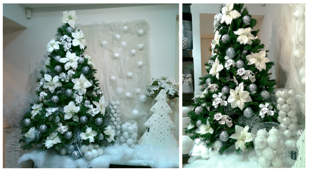 Florist In Rome White Silver Floral Christmastree
