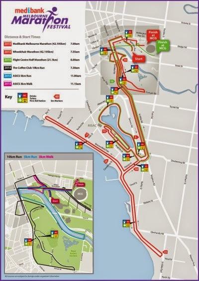 Melbourne Marathon 2014 course map