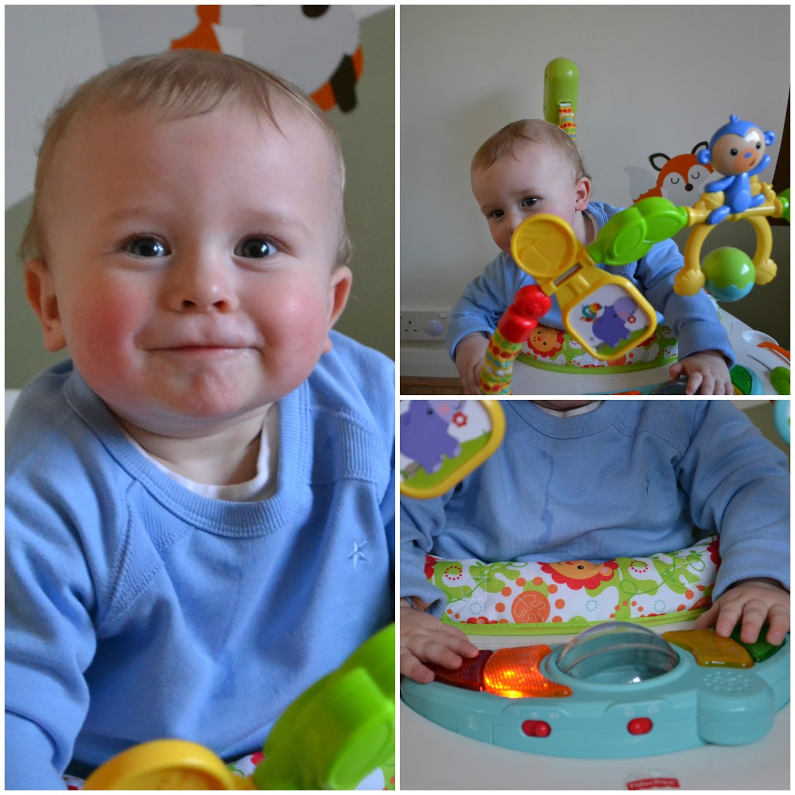 Fisher Price space saver Jumperoo collage