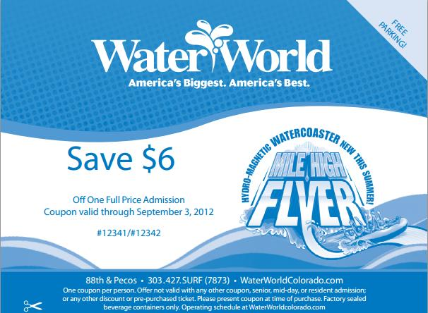 Discount coupons for waterworld concord