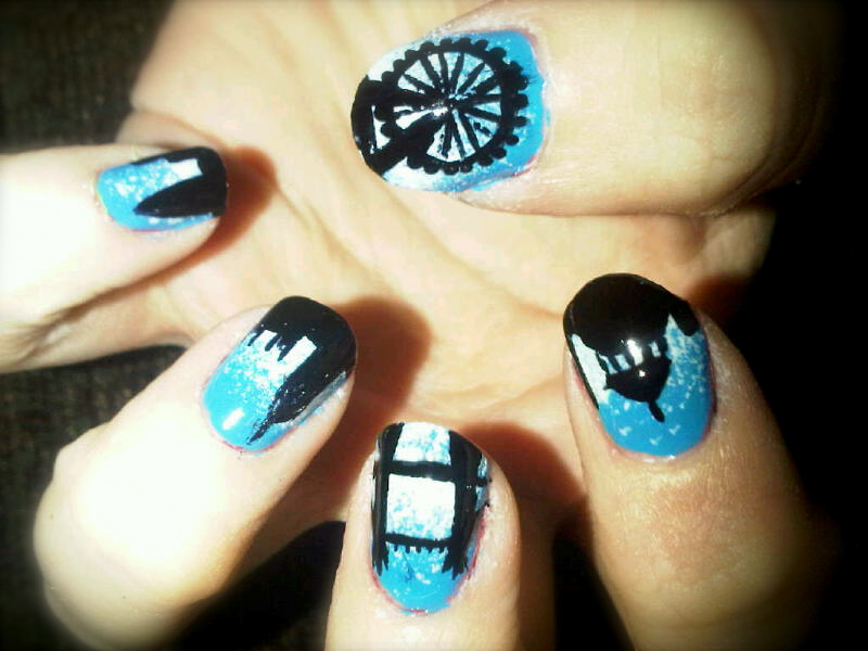 Off the nail nail artist from london view nail art designs here london skyline prinsesfo Images
