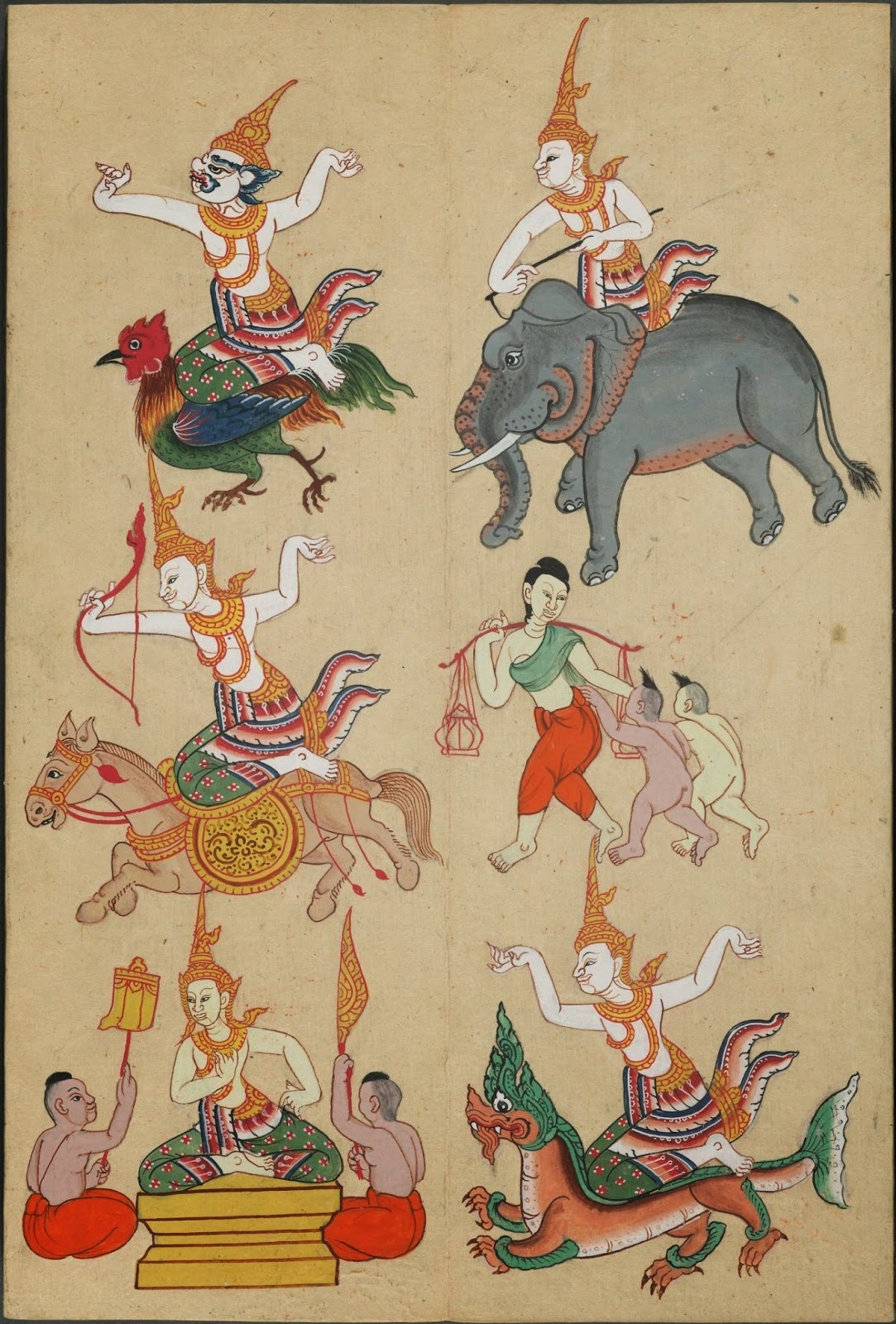 hand-painted figures and/or gods riding animals