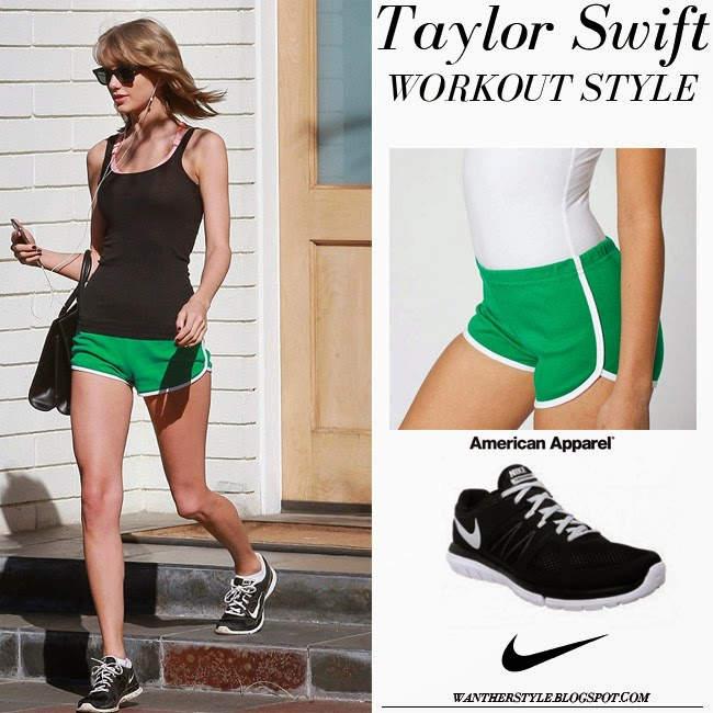 Taylor Swift in black top, green American Apparel Interlock shorts and black Nike Flex Run sneakers workout running fashion inspiration want her style