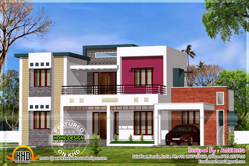 Flat roof contemporary floor plans kerala home design - Flat roof home designs ...