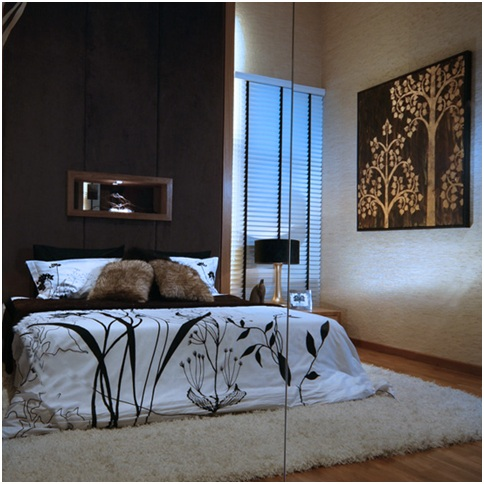 Modern bedroom decoration in brown and cream colors. Bedroom decorating ideas