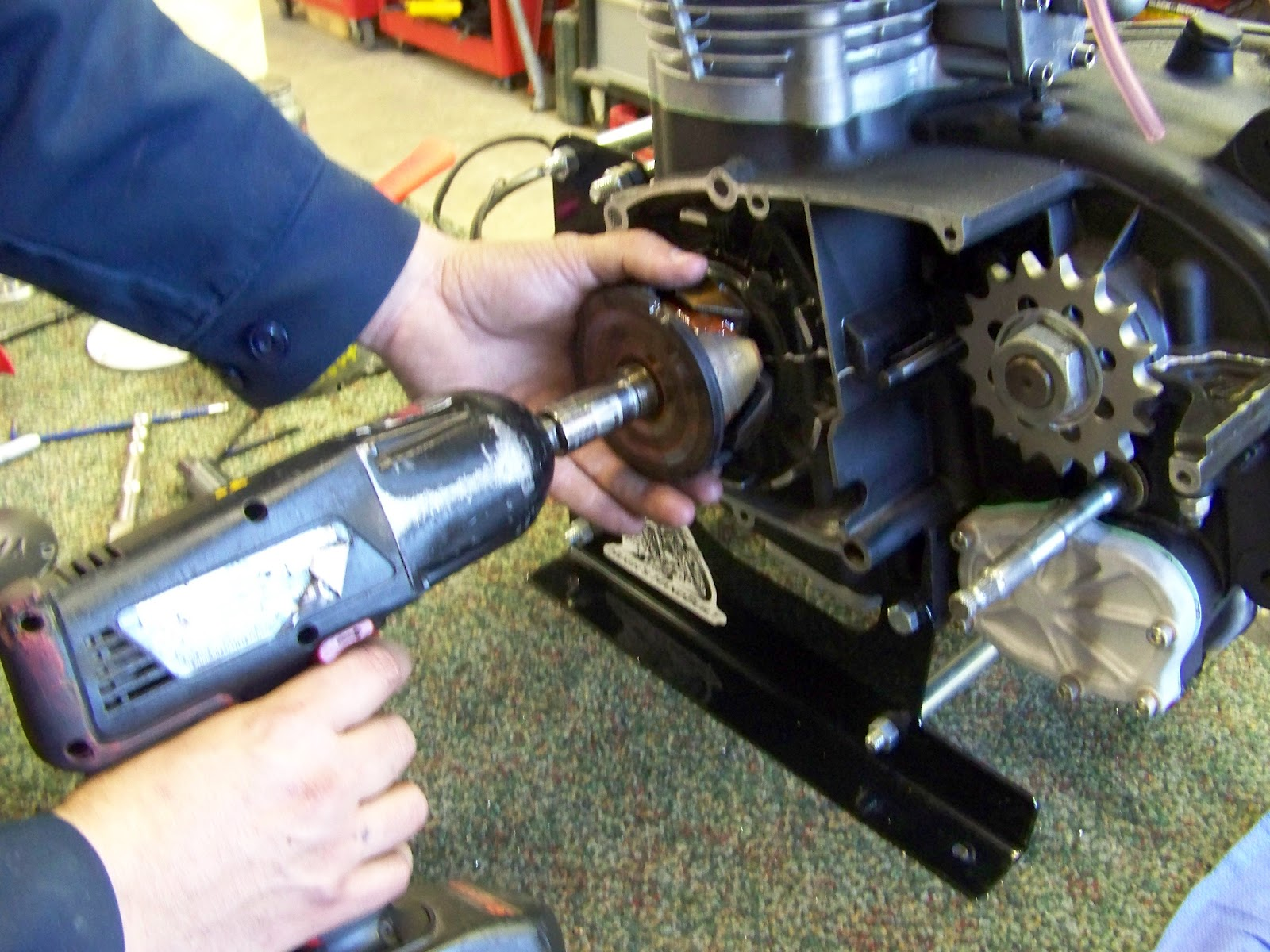 How To Install Your Hughs Handbuilt Pma System On Xs650 1980 Cdi Wiring Diagram Now Thread The Rotor Puller Oem Charging Or Use A 2 Jaw If You Like Arent Keeping This Part Anyhow Be Careful Not Damage