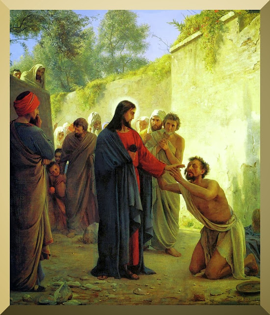 """Healing the Blind Man"" -- by Carl Heinrich Bloch (1834-1890)"
