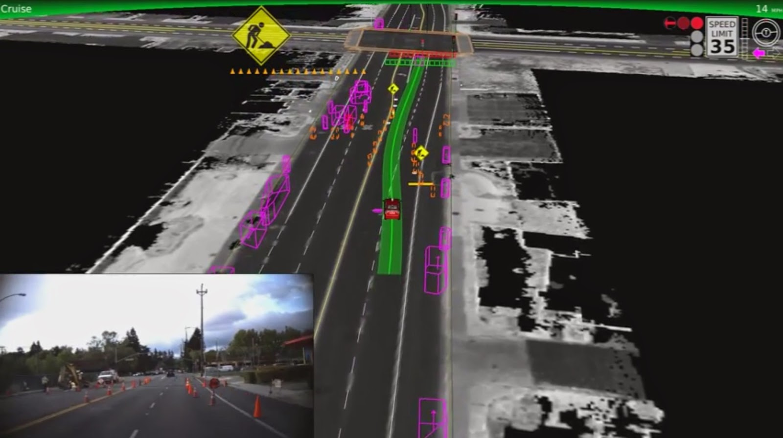 Google's self-driving car, navigating some road works