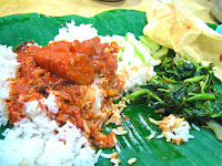 banana leaf lunch white rice curry