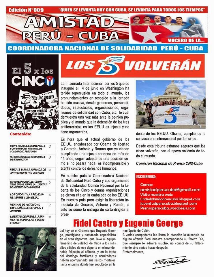 "BOLETÍN N°009 ""AMISTAD PERÚ CUBA"""