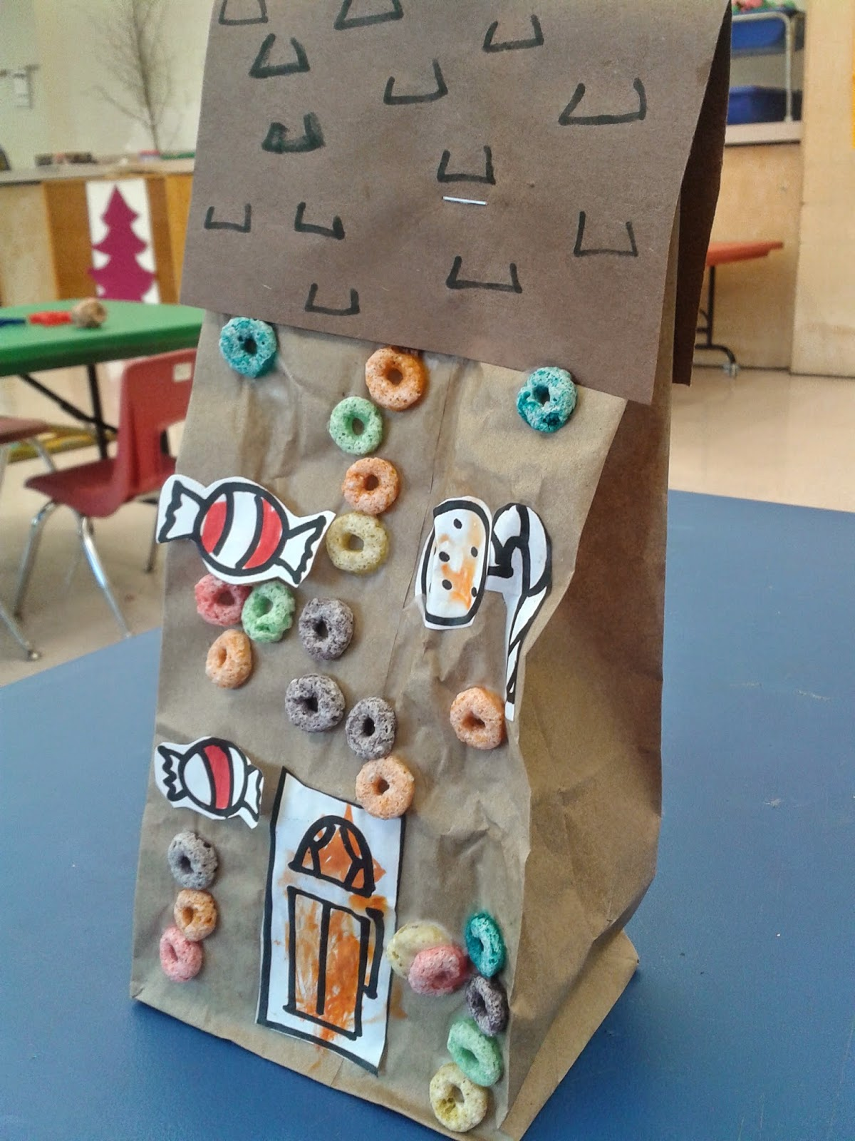 Gingerbread house free printables - The Children Coloured Paper Candies And A Door And Then Glued Those Onto A Lunch Bag Laid Flat On The Table