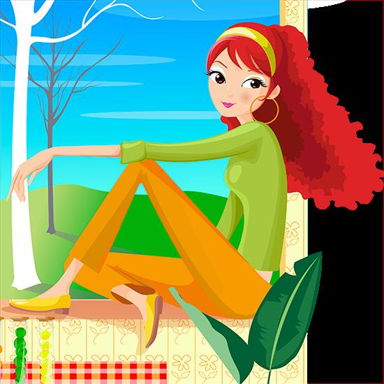 Chica pelirroja en la ventana