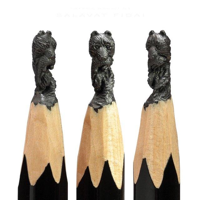 Incríveis miniaturas esculpidas nas pontas dos lápis