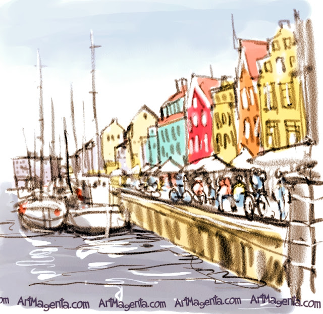 Nyhavn in Copenhagen is an urban sketch by Artmagenta