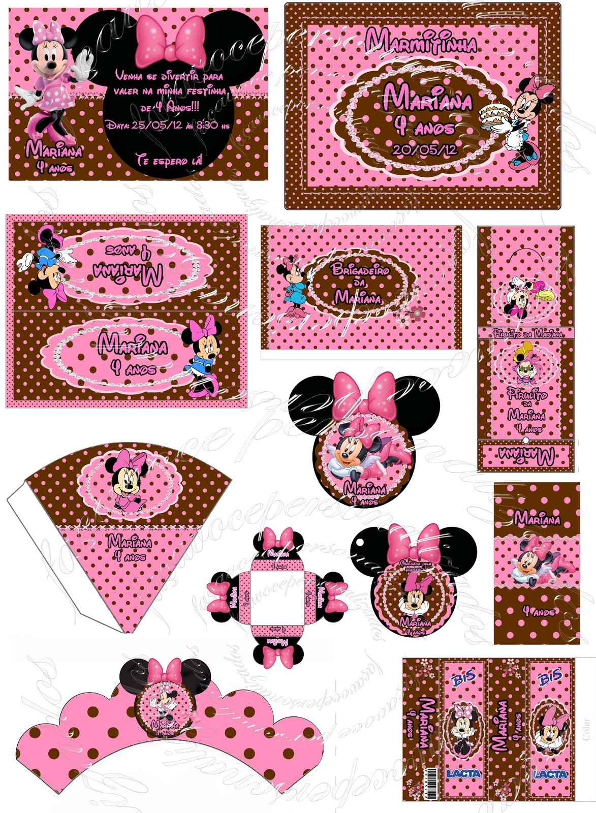 Kit festa Minnie marrom e rosa digital.