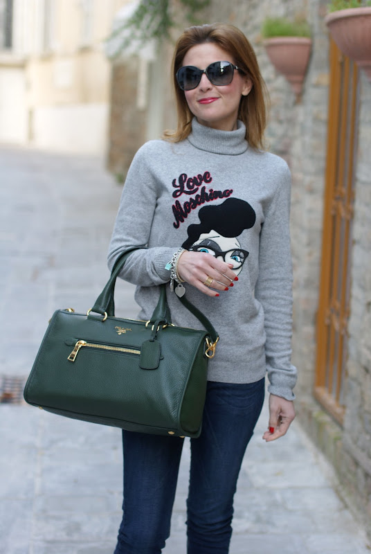 Moschino sweater, Prada bag