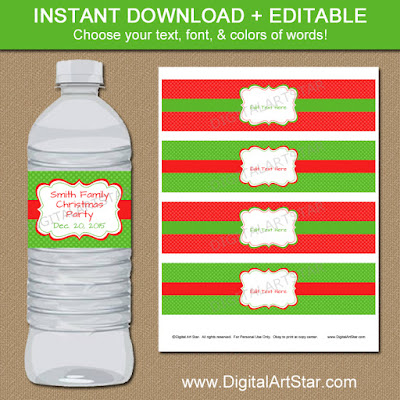 Christmas water bottle labels with polka dots