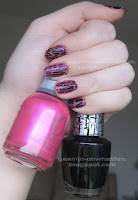 OPI Black Shatter over pink