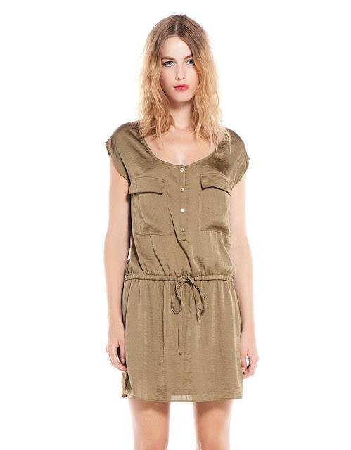 kemerli düğmeli haki elbise