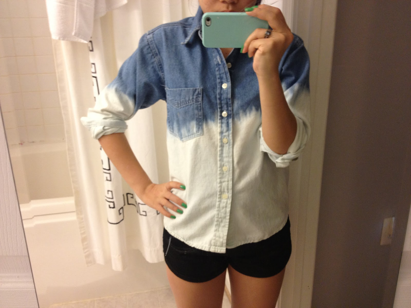 Blog : How To: Dip Dye Denim Shirt With Bleach (Ombre Fail ...