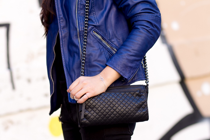 Details blue leather biker jacket muubaa
