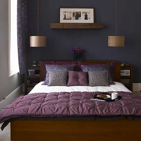 relaxing purple and dark bedroom