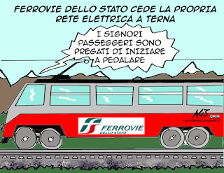 FS, Trenitalia, Terna, rete elettrica, economia, reti di distribuzione, monopoli, vignetta satira