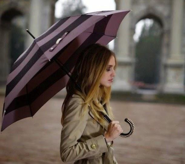 look-de-otoño-con-gabardina-y-paraguas