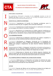 C.T.A. INFORMA, LO REALIZADO EN OCTUBRE DE 2019