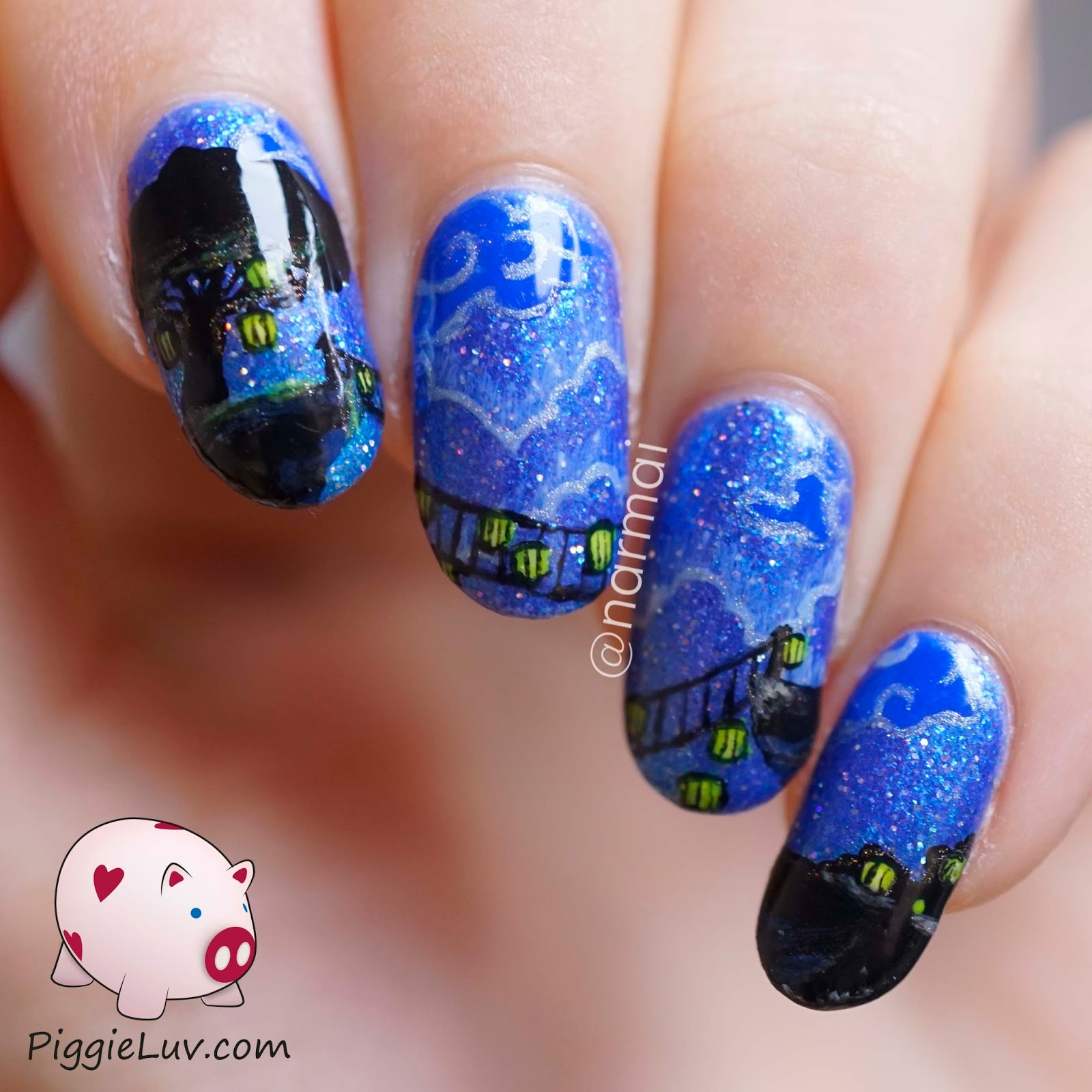 PiggieLuv: Glow In The Dark Bridge Nail Art (painted With