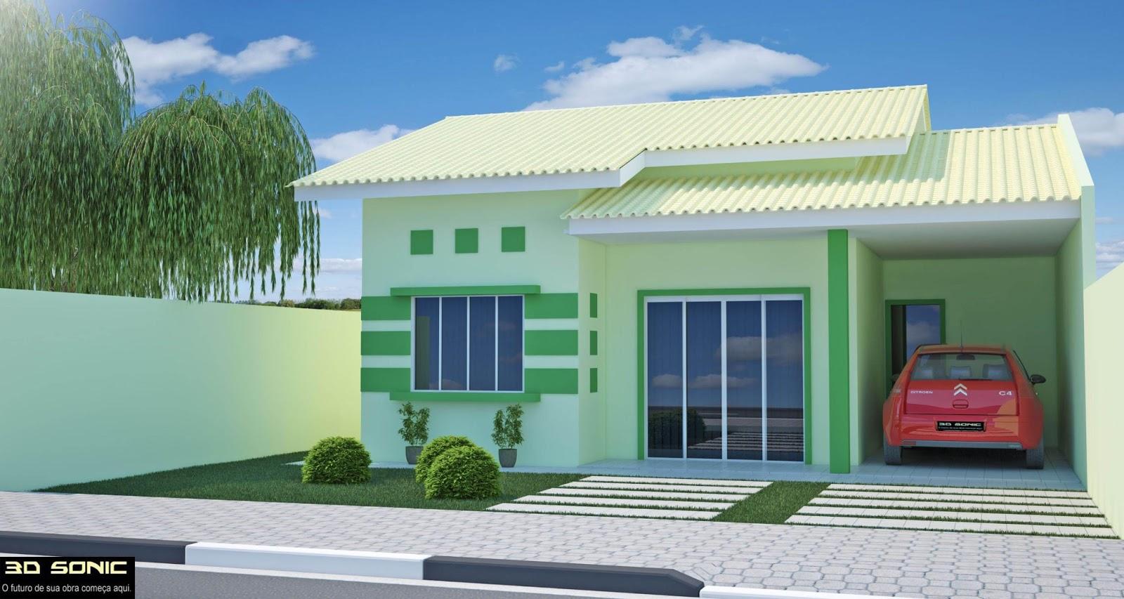 3d sonic maquetes casa de 70m2 planta baixa e 3d feito for Modelo de casa pequena para construir