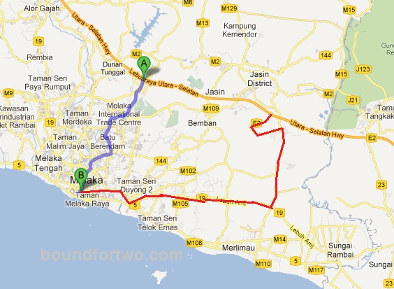 Melaka Trip Finding road to Melaka  Boundfortwocom