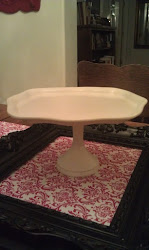 Rectangular Swirled Edged Ivory Platter with Swiveled Pedestal $15 (SOLD)