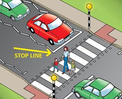 pedestrian crosswalk stopping line