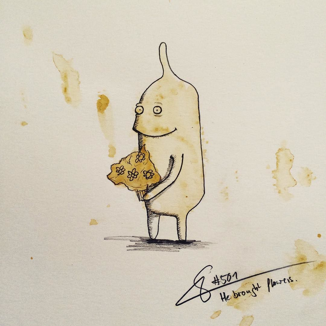 13-He-Brought-Flowers-Stefan-Kuhnigk-Monster-Drawings-within-Coffee-Stains-www-designstack-co
