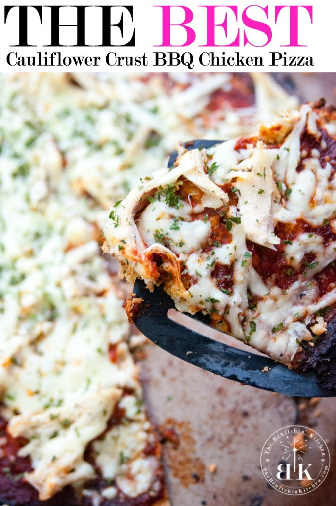 A recipe for a BBQ chicken pizza with cauliflower crust