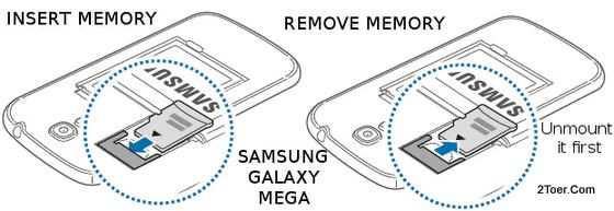 Samsung Galaxy Mega GT-I9205/GT-I9200 Insert Install Remove microSD Memory Card