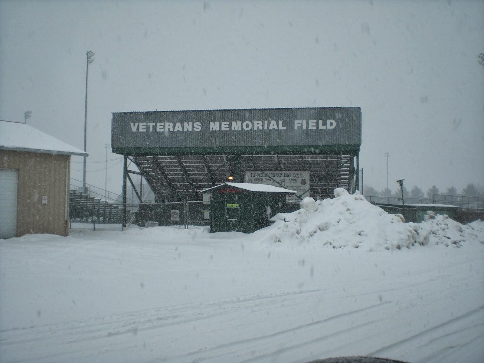 Ely, veterans, meorial, baseball, field, minnesota, snowstorm.