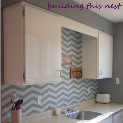 Chevron Painted Backsplash