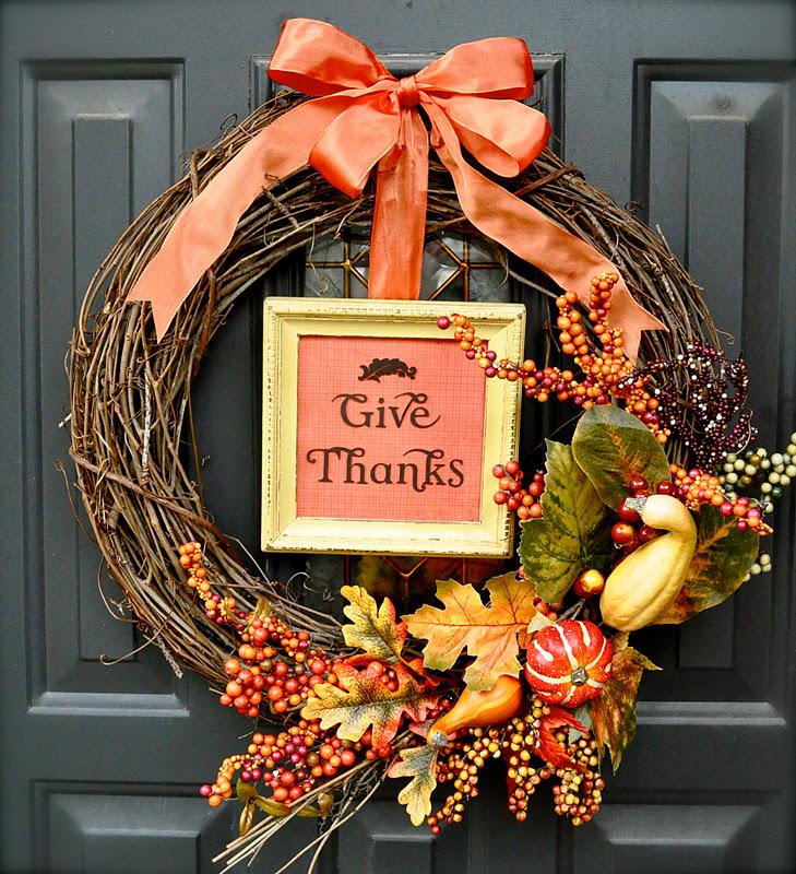 Thanksgiving autumn wreath idea tutorial little birdie for Decoration thanksgiving