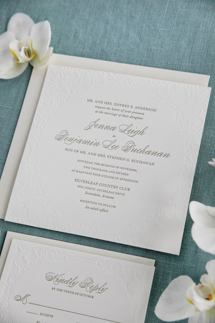 black tie letterpress wedding invitation
