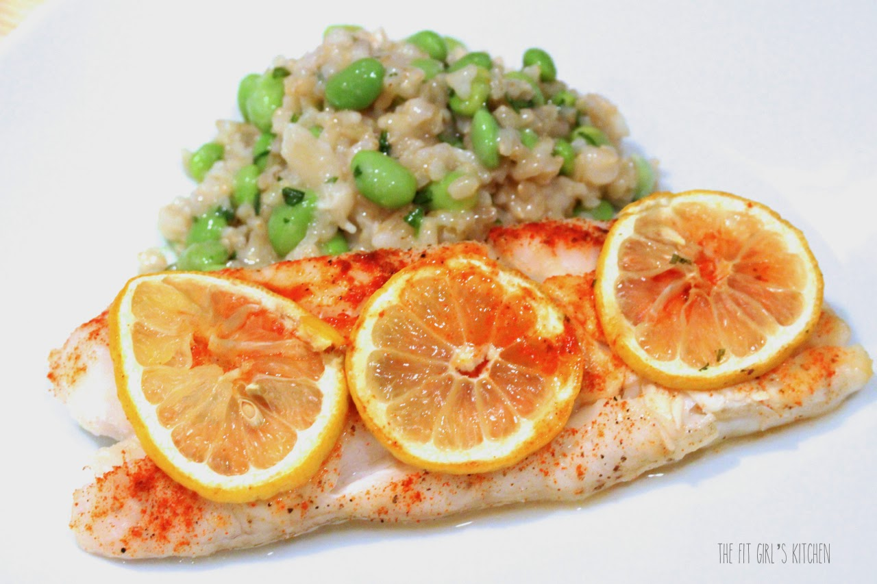 Coconut rice and baked fish recipe