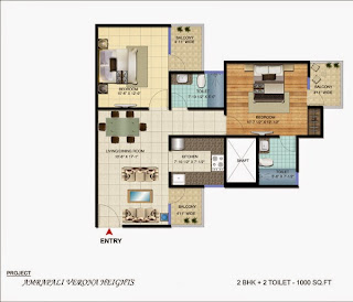 Amrapali Verona Heights :: Floor Plans 2 BHK + T