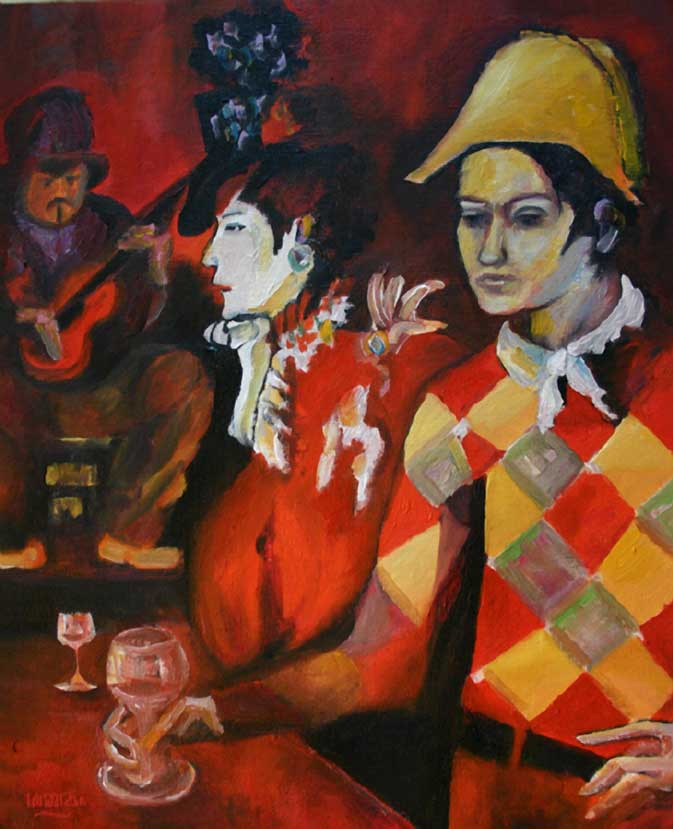 Picasso Red Painting Harlequin